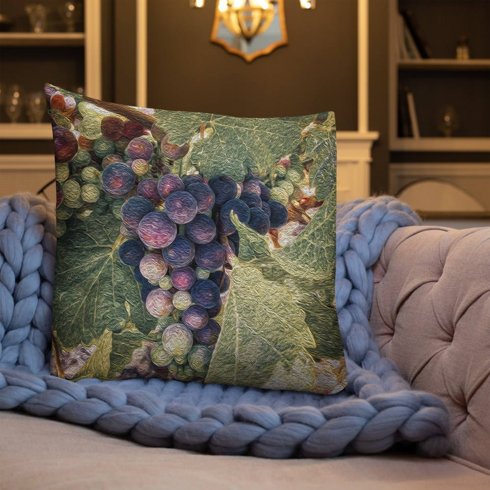 Painterly Vineyard Red Decorative Throw Pillow 22x22