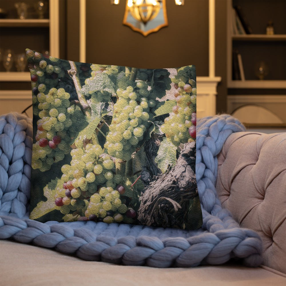 Painterly Vineyard White Decorative Throw Pillow 22x22