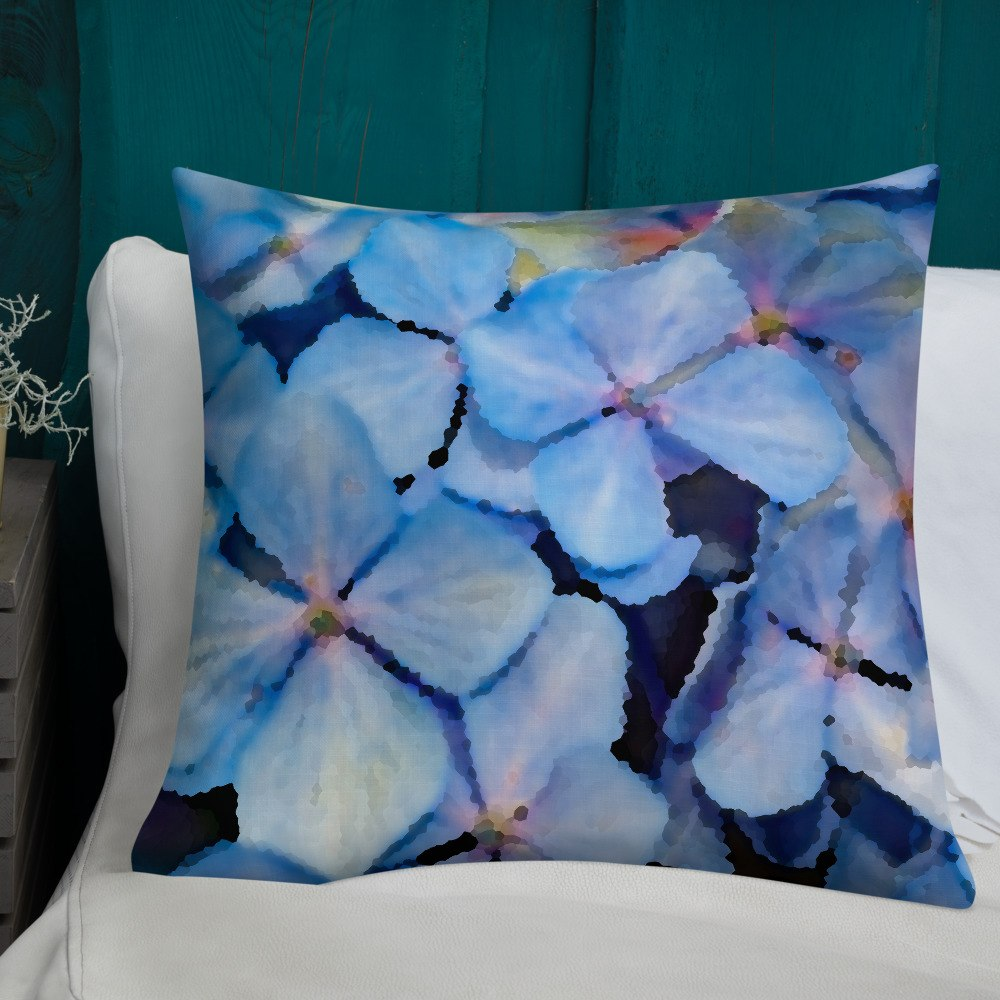 Blue Hydrangea Cluster Decorative Throw Pillow 22x22