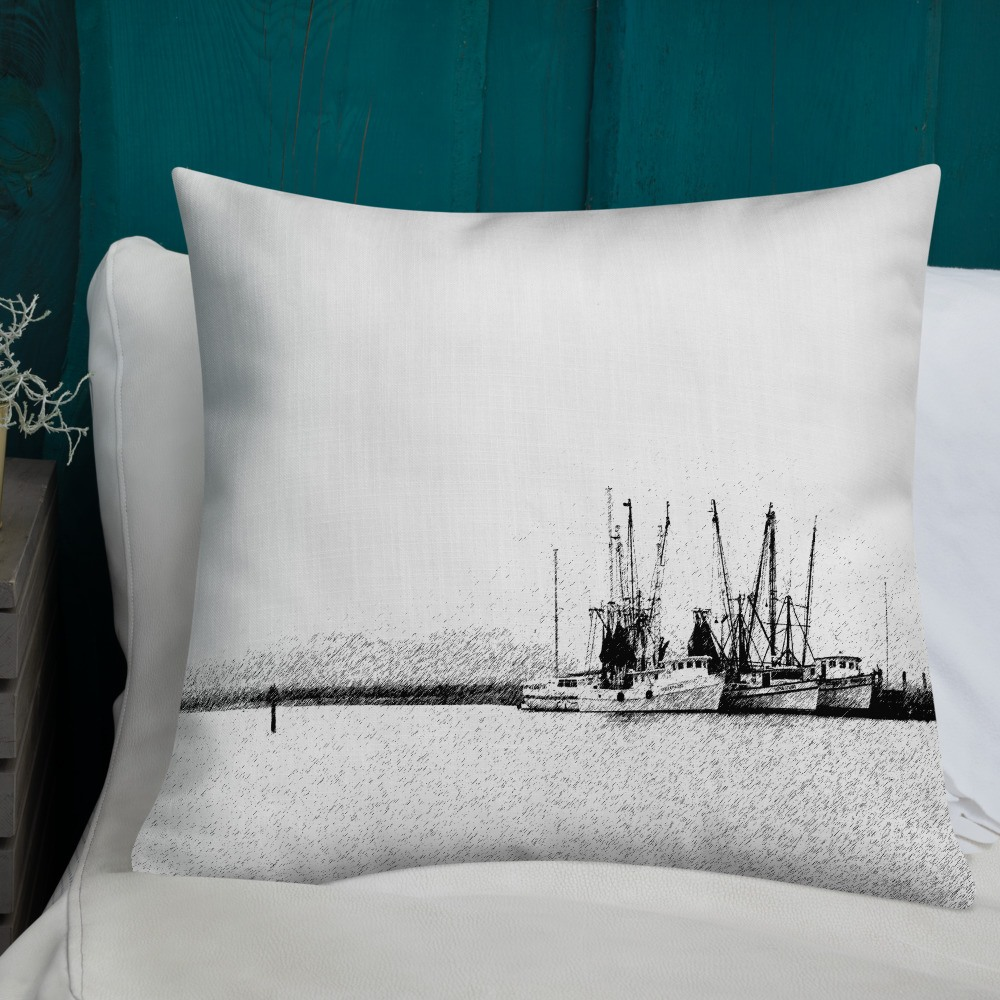 Shrimp Boats Decorative Throw Pillow 22x22